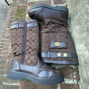 Coach Boots Brown Gold Hardware Size 7